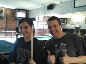 youth pool players, Kacie and Francis